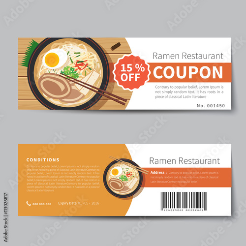 japanese food coupon discount template flat design stock image and