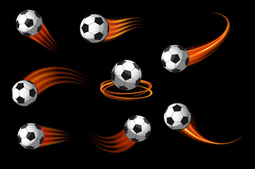 soccer balls or football icon vector with fire motion trails for