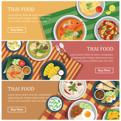 Thai food web banner.Thai street food coupon.