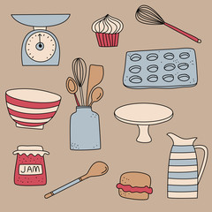 Food baking cooking kitchen icon doodle wallpaper
