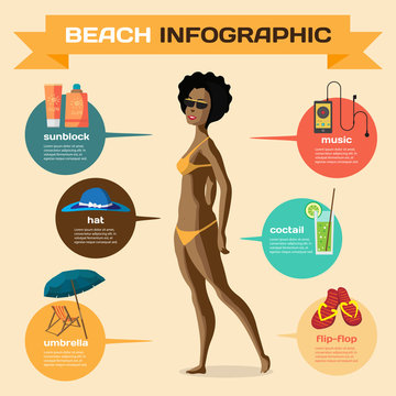 Vector Infographic set flat design about afro woman on the beach