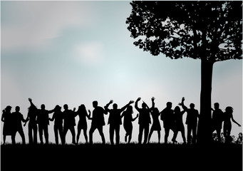 Group of people. Dancing silhouettes.