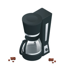 Coffee machine isolated on white. Flat 3d vector isometric illustration