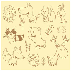 Cute cartoon forest animals set. Funny fox, wolf, squirrel, hare, raccoon, owl and deer. Different plants. Vector contour image no fill. Children's illustration.