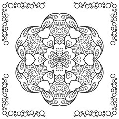 Abstract round ornament with border. Mandala. Background. Design for coloring book page