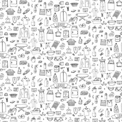 Seamless background hand drawn doodle Laundry set Vector illustration washing icons Laundry concept elements Cleaning business symbols Equipment and facilities for washing, drying and ironing clothes