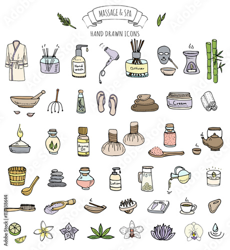 Hand Drawn Doodle Massage And Spa Icons Set Vector Illustration Relaxing Symbols Collection Cartoon Beauty Care