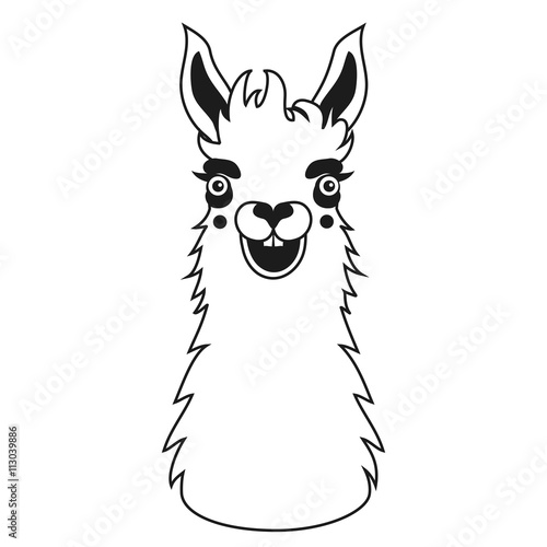 """Llama Clipart Black And White """"Vector black and..."""