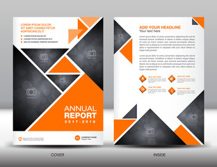 Orange Annual report template business brochure flyer template i