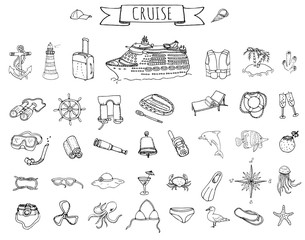 Hand drawn doodle Cruise vacation icons set Vector illustration summer adventure emblem collection Cartoon cruise liner concept elements Sea symbols Marine concept with Cruise Ship Summertime Elements
