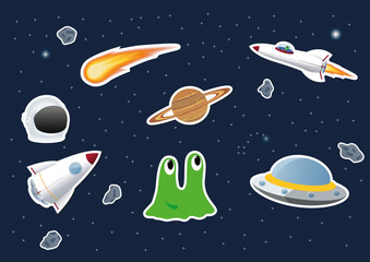 Space theme stickers