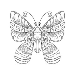 Cute cartoon butterfly with ornament. Background, cover. Design for coloring page