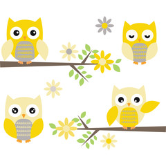 Cut Owl with Branches.Yellow and Grey Owl.Flowers