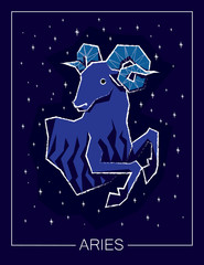 Zodiac sign Aries on night starry sky background.