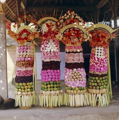 Offerings, temple festival near Mengwi, Bali, Indonesia, Asia
