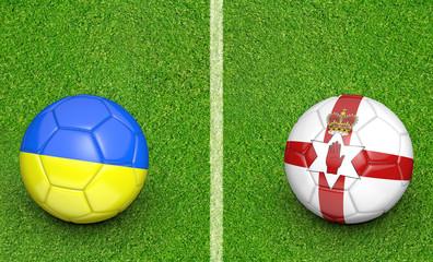 Team balls for Ukraine vs Northern Ireland football tournament match, 3D rendering