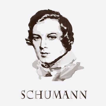 Composer Robert Schumann. vector portrait