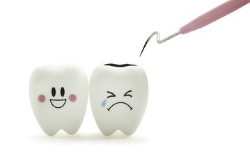 Tooth smile and cry emotion with dental plaque cleaning tool on white background.