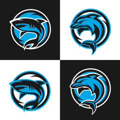 Sharks and dolphins sports logos.