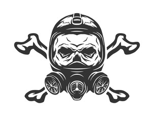 Skull wearing a gas mask and crossbones.