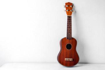 The brown ukulele