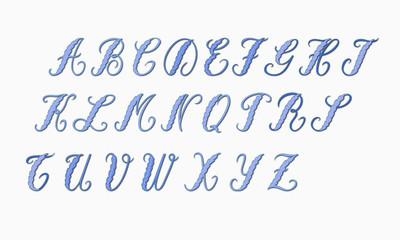 Lettres romantiques bleues.