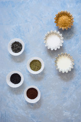 Ingredients to prepare hot drink: black, green and herbal teas, grounded coffee, white and brown sugar and milk