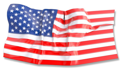3d illustration of waving American Flag