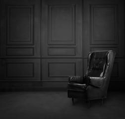 Black room interior design with armchair