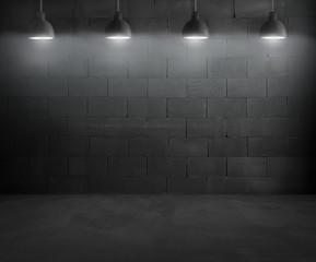 Black brick room interior design with pendant lamps