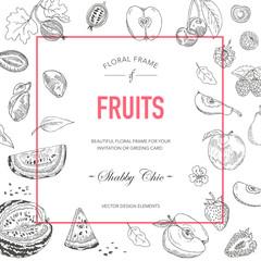 Fruit Frame. Invitation Card. Wedding Card. Baby Shower Card. Vector
