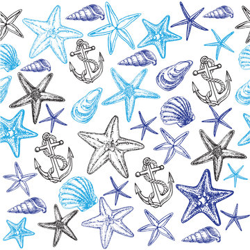 starfish and seashells seamless pattern