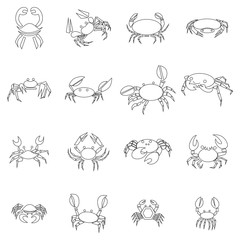 Crab icons set, outline style