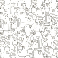 Light bulbs line art seamless pattern background