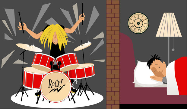 Man sleeping quietly in an adjusting room to a musician playing a drum set, illustration of soundproofing, EPS 8
