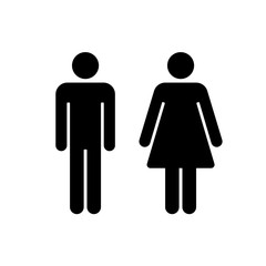 Vector man & woman icons. Toilet sign. The icon with a black sign on a white/color background. Can be used as a design element.