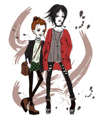 Two girls in a grunge style. Red-haired and black-haired girls on abstract background. Fashion illustration