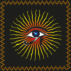 Abstraction Vector Eye of Ra Abstraction vector of a black background on a contour of the image ethnic ornament in the center of the sun god Ra and eye for decoration and design