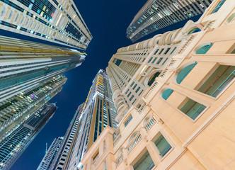 Street view of Dubai Marina skyline - UAE