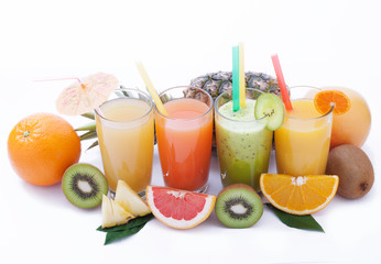 Fruits smoothies, summer cool drinks top view macro