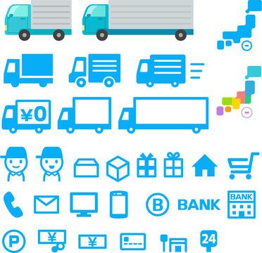 通販と配送のアイコンセット