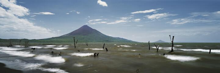 View of lake Managua and the Momotombo Volcano, Nicaragua