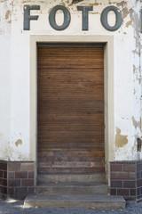 View of closed photo studio