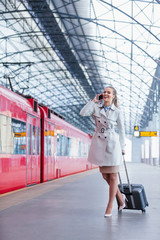 Businesswoman at station