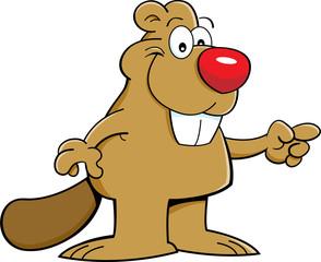 Cartoon illustration of a beaver pointing.