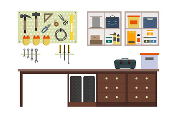 Flat garage inside. Working place with tools in storeroom. Garage interior. Tools, worker tools, tires, hummer, boxes, shelves, table in store. Vector interior illustration.