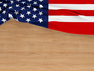 America flag of fabric texture with copyspace