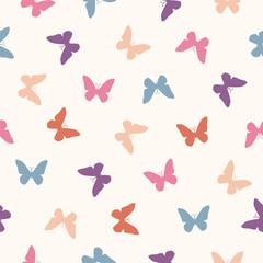 Vector seamless pattern - flat pastel butterflies