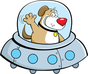 Cartoon illustration of a dog in a spaceship.