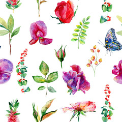 Seamless pattern with pink, blue Sweet pea, Lathyrus odoratus, leaves. Watercolor flowers. Vintage. Can be used for gift wrapping paper and other backgrounds.